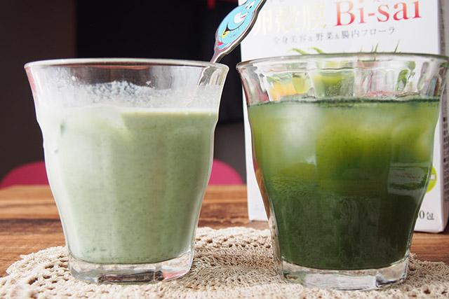 アルマード卵殻膜 美菜 100mLの牛乳と水