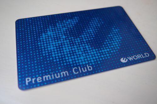 お店で作ったワールドの青いカード