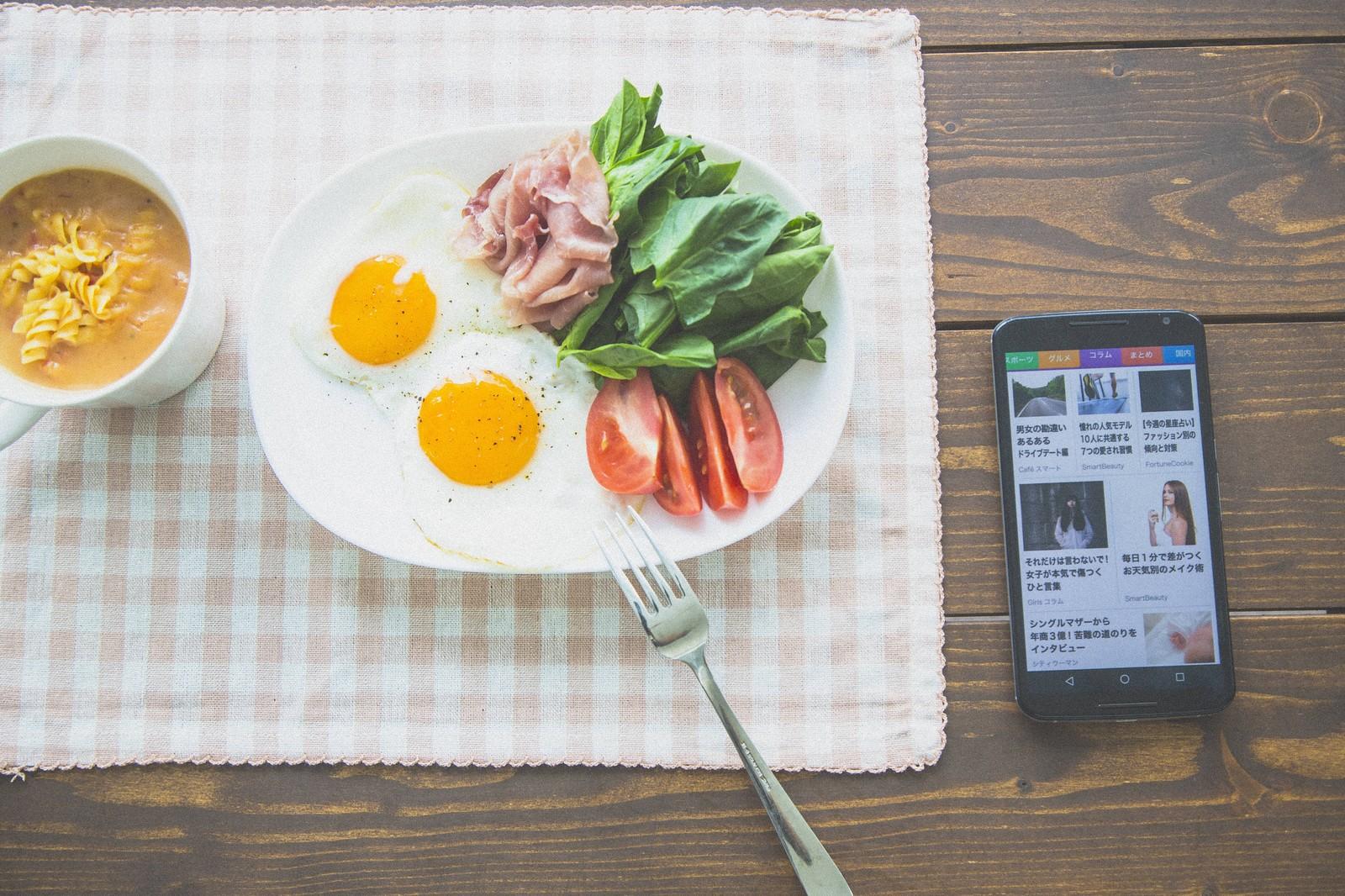 スマホで見ながら朝食